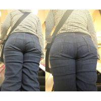 下半身だけがむっちむっちしたお姉さんのジーンズに包まれたまん丸巨尻...