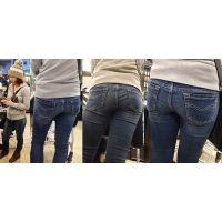 スーパーで見掛けた可愛いママさんはジーンズを柔らかそうな爆尻肉でパッツンパッツンに...
