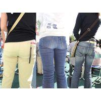 運動会で子供の応援に夢中でジーンズやパンツの中を汗ビッショリにするママさんたち...