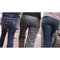 柔らかくて大きな爆尻がジーンズやパンツの中でパッツンパッツン...ライン丸出しになる奥様たち...