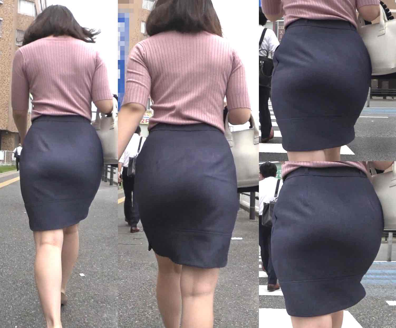 ピチピチタイトスカート12_ムチ尻とクビレがエロいお姉さん♪[フルHD]
